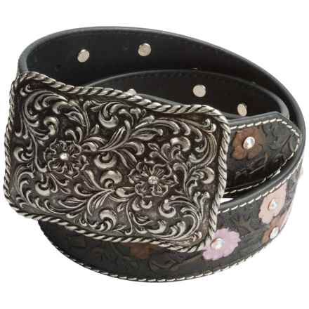 Roper Painted Hand-Tooled Leather Belt (For Women) in Black - Closeouts