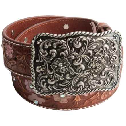 Roper Painted Hand-Tooled Leather Belt (For Women) in Tan - Closeouts