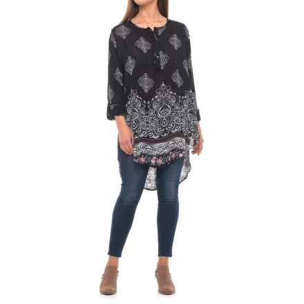 Roper Paisley Border Print Tunic Shirt - Long Sleeve (For Women) in Black - Closeouts