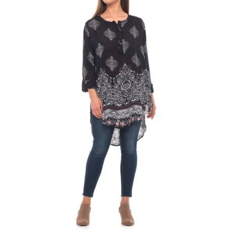 Roper Paisley Border Print Tunic Shirt - Long Sleeve (For Women) in Black