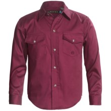 Roper Peached Twill Shirt - Snap Front, Long Sleeve (For Boys) in Wine - Closeouts