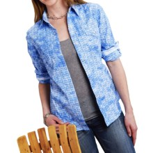 Roper Performance Collection Basket-Weave Western Shirt - Snap Front, Long Sleeve (For Women) in Blue - Closeouts