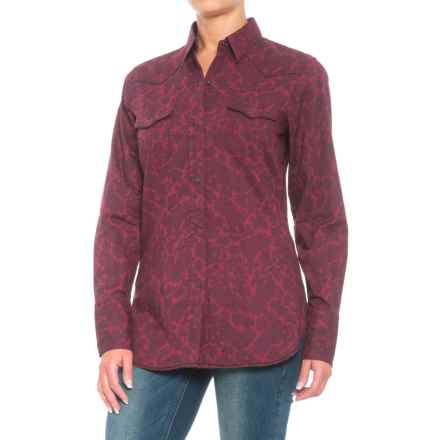 Roper Performance Paisley Shirt - Snap Front, Long Sleeve (For Women) in Wine - Closeouts