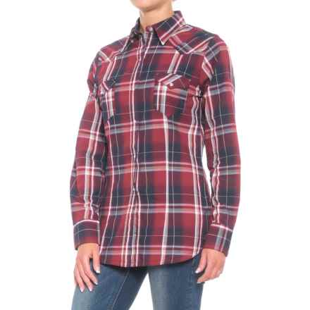 Roper Performance Plaid Shirt - Snap Front, Long Sleeve (For Women) in Dark Indigo - Closeouts