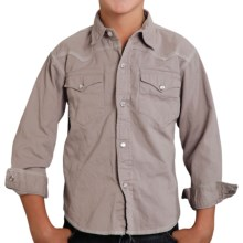 Roper Performance Western Shirt - Long Sleeve (For Boys) in Grey - Closeouts