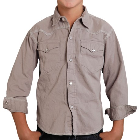 Roper Performance Western Shirt - Long Sleeve (For Boys) in Grey