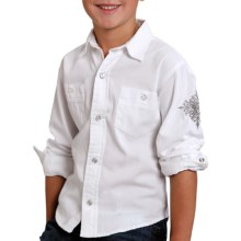 Roper Performance Western Shirt - Snap Front, Long Sleeve (For Boys) in White - Closeouts