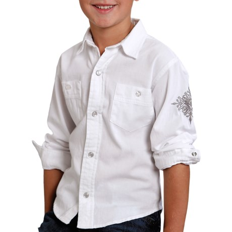 Roper Performance Western Shirt - Snap Front, Long Sleeve (For Boys) in White