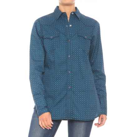 Roper Performance Yarn-Dyed Print Shirt - Snap Front, Long Sleeve (For Women) in Blue Turn Style - Closeouts