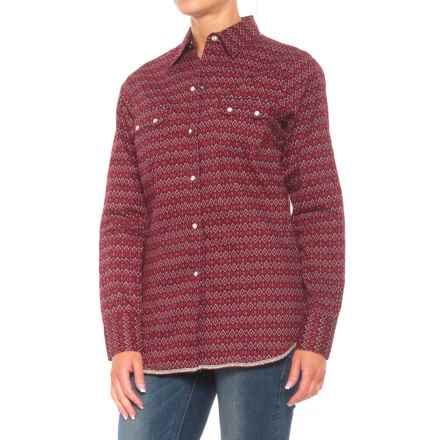 Roper Performance Yarn-Dyed Print Shirt - Snap Front, Long Sleeve (For Women) in Burgandy Diamond Tapestry - Closeouts