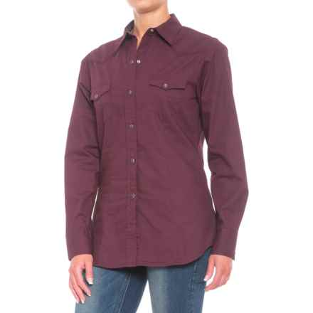 Roper Performance Yarn-Dyed Shirt - Snap Front, Long Sleeve (For Women) in Deep Plum - Closeouts