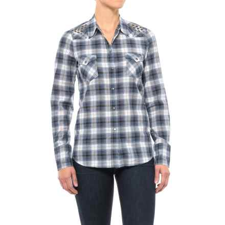 Roper Plaid Western Shirt - Snap Front, Long Sleeve (For Women) in Blue - Closeouts