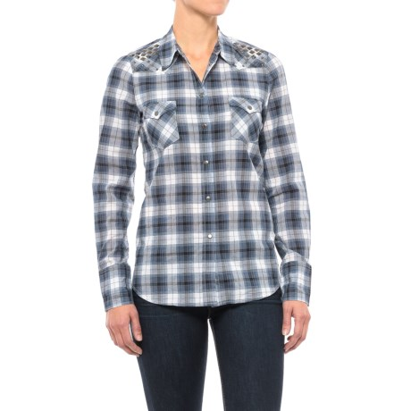 Roper Plaid Western Shirt - Snap Front, Long Sleeve (For Women) in Blue