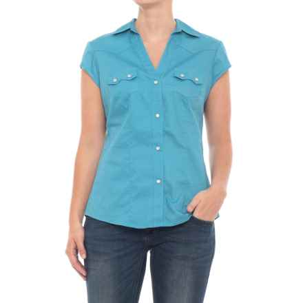 Roper Poplin Sawtooth Shirt - Snap Front, Short Sleeve (For Women) in Turquoise - Closeouts