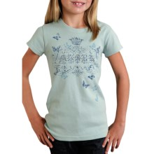 Roper Printed Knit T-Shirt - Ribbed Cotton, Short Sleeve (For Girls) in Blue - Closeouts