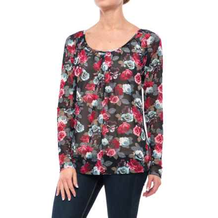 Roper Printed Mesh Peasant Blouse - Long Sleeve (For Women) in Black - Closeouts