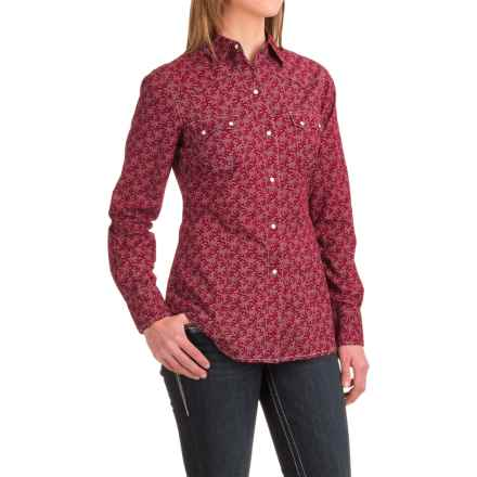 Roper Printed Western Shirt - Snap Front, Long Sleeve (For Women) in Red - Closeouts