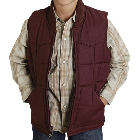 Roper Range Gear Quilted Vest - Cotton Canvas (For Boys) in Wine