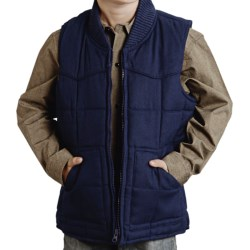 Roper Range Gear Quilted Vest - Cotton Canvas (For Little and Big Boys) in Wine
