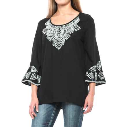 Roper Rayon Tunic Shirt - Scoop Neck, Long Sleeve (For Women) in Black - Closeouts