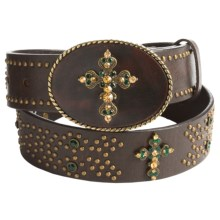 Roper Rhinestone Cross Belt - Leather (For Women) in Brown - Closeouts