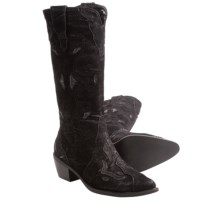 Roper Rock Star Cowboy Boots - Faux Leather, Pointed Toe (For Women) in Black - Closeouts