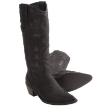 Roper Rock Star Western Boots - Faux Leather, Pointed Toe (For Women) in Black Distressed - Closeouts