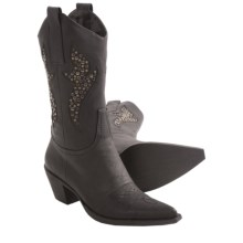Roper Rock Star Western Boots - Faux Leather, Pointed Toe (For Women) in Black W/ Studs - Closeouts