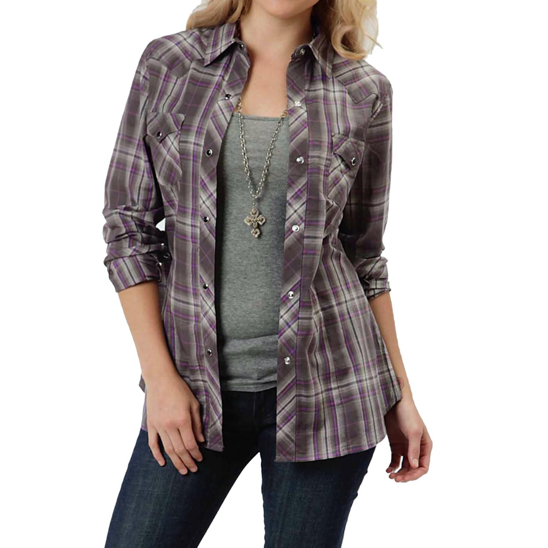 Roper royal plaid shirt for women save 57 for Grey plaid shirt womens