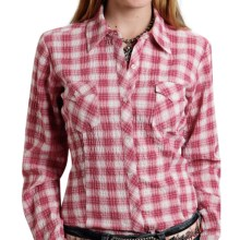 Roper Seersucker Plaid Western Shirt - Button Front, Long Sleeve (For Women) in Pink - Closeouts