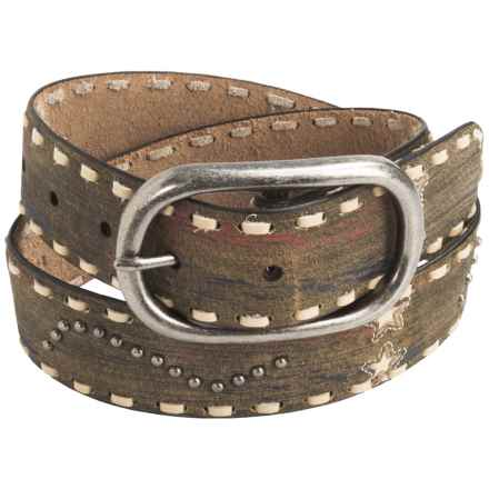 Roper Silk Screen Distressed Leather Belt (For Women) in Tan - Closeouts