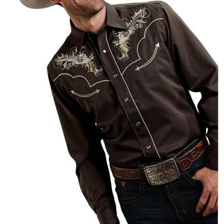 Roper Six Shooter Shirt - Snap Front, Long Sleeve (For Men) in Brown - Closeouts