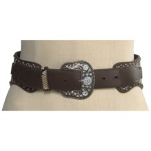Roper Snake Print Hip Belt - Leather, Cowhair (For Women) in Brown - Closeouts