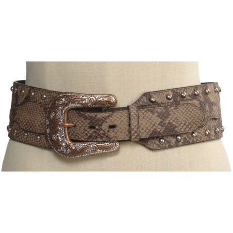 Roper Snake Print Hip Belt - Leather (For Women) in Snake Print