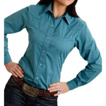 Roper Solid Broadcloth Western Shirt - Snap Front, Long Sleeve (For Women) in Teal - Closeouts