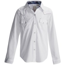 Roper Solid Western Shirt - Snap Front, Long Sleeve (For Girls) in White - Closeouts