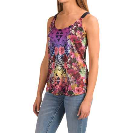 Roper Southwest Floral Tank Top (For Women) in Navy - Closeouts
