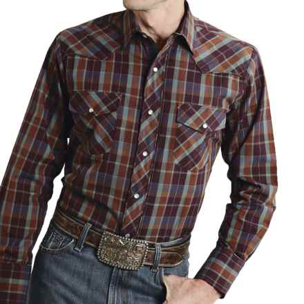 Roper Special Lurex Plaid Shirt - Snap Front, Long Sleeve (For Men) in Wine - Closeouts