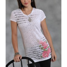 Roper Spring Blossom Shirt - Burnout Jersey, Short Sleeve (For Women) in White - Closeouts