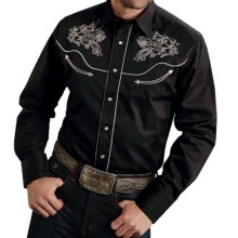 Roper Steer Head Shirt - Cotton, Snap Front, Long Sleeve (For Men) in Black - Closeouts