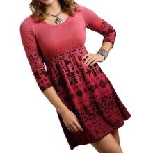 Roper Stretch Jersey Print Dress - Empire Waist, Long Sleeve (For Women) in Coral - Closeouts
