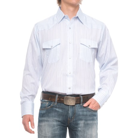 Roper Striped Western Shirt - Snap Front, Long Sleeve (For Men) in Periwinkle