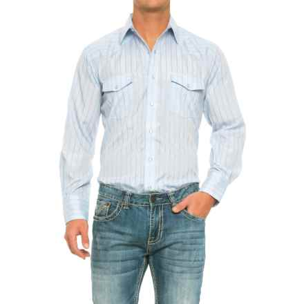 Roper Striped Western Shirt - Snap Front, Long Sleeve (For Men) in Powder Blue - Closeouts