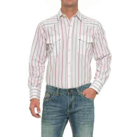Roper Striped Western Shirt - Snap Front, Long Sleeve (For Men) in White - Closeouts