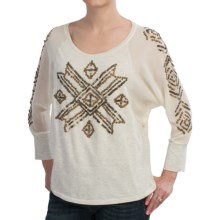 Roper Studio West Embellished Shirt - Sheer Dolman Long Sleeve (For Women) in White - Closeouts