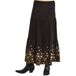Roper Studio West Tiered Border Print Skirt - Rayon (For Women) in Black