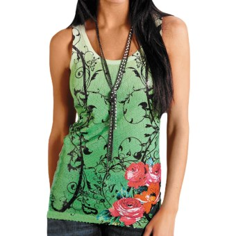 Roper Sublimation Printed Knit Tank Top (For Women) in Green