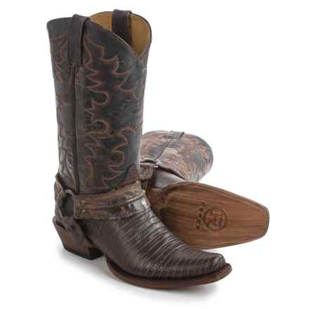 "Roper Teju Lizard Print Harness Cowboy Boots - 13"", Bandit Toe (For Men) in Brown - Closeouts"