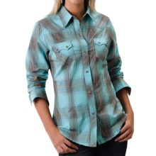 Roper Thorn Plaid Western Shirt - Snap Front, Long Sleeve (For Women) in Blue - Closeouts