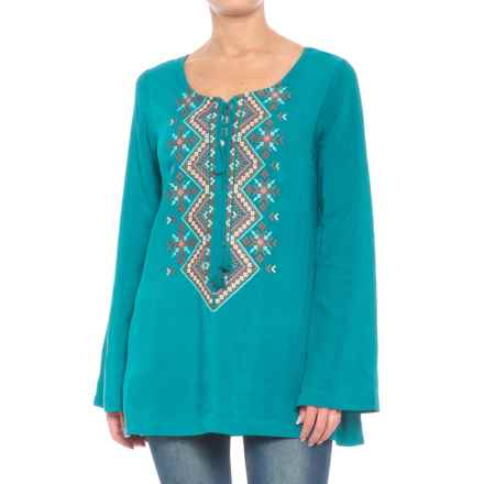 Roper Tie Front Embroidered Shirt - Long Sleeve (For Women) in Teal - Closeouts